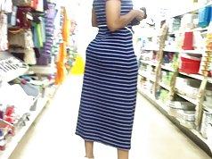 Bubble Booty Mom In Blue Dress.
