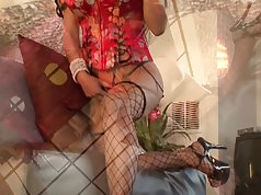 Fishnetted asian c-cup asian hottie strokes her pussy and nipples